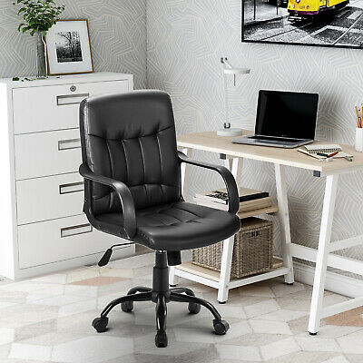 Small Office Chair Leather Task Computer Desk Swivel Executive Adjustable Black