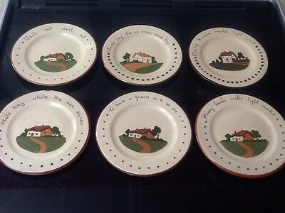 "Dartmouth Torquay Pottery Mottoware Small Plate 6.5"".x Six Plates"