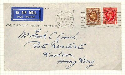 AG137 1934 GB KGV PHOTOGRAVURE First Flight Airmail HONG KONG {samwells-covers}
