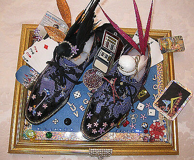 "Unique American Made ""las Vegas Themed"" Framed Art One-Of-A-Kind W/real Shoes!"