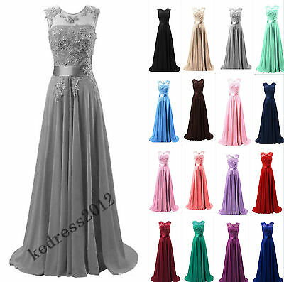 New Lace/Chiffon Long Bridesmaid Formal Prom Party Ball Evening Dress Size 6-22+
