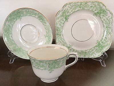 Vintage - ''vale'' Green Floral - Cup / Saucer / Plate Trio