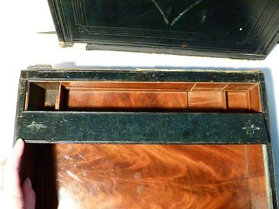 Antique 19thC Regency / Victorian Leather Covered Military Campaign Writing Box