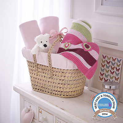 New Clair De Lune Pink Waffle Moses Basket Gift Basket - Sheets, Blanket & Teddy