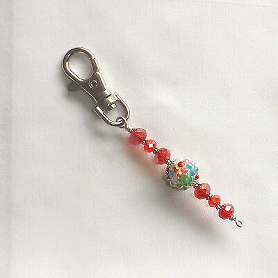 Scissor Fob. Zipper Pull, Luggage Pull, Backpack Charm.  Handmade Beaded. #202