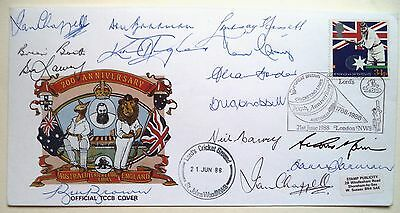 Australian Test Cricket Captains Fully Autographed First Day Cover Inc Bradman