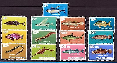 13 timbres NEUFS ** The GAMBIA poisson 1971 Fish /Reptile set MNH 88M573