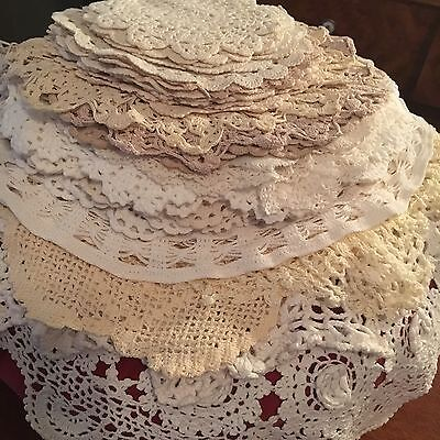 Bulk Of Lot 45 Vintage Doilies Cream White Round Crochet Lace Lovely Quality