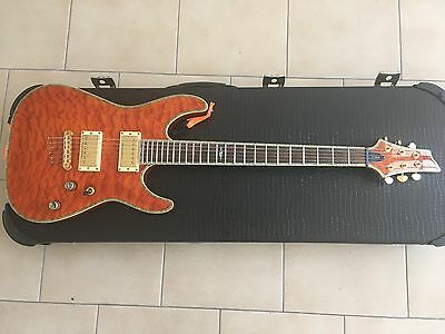 schecter C-1 Elite Electric Guitar Amber with rigid case