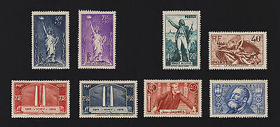 1936 Statue of Liberty set and others mint (hinges removed) France stamps