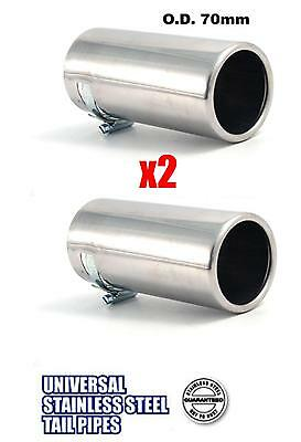 PAIR of STAINLESS Car tailpipe Exhaust box Tip Extension Pipe Trim cover 70mm X2