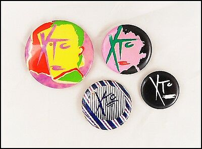 XTC Lot Of 4 80's Buttons Pins