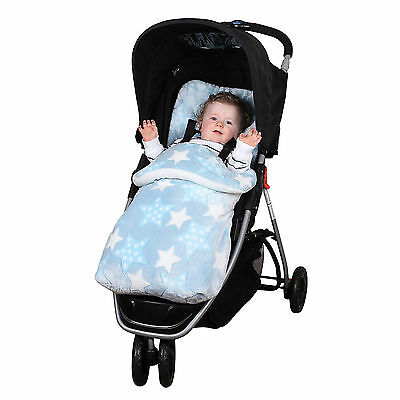 New Clair De Lune Blue Star Pushchair Stroller Buggy Footmuff Baby Cosytoes