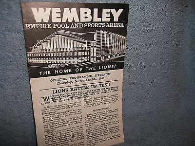 Wembley Lions V Brighton Tigers 7-11-1963 Ice Hockey Programme