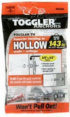 """Toggler, 5 Pack, 3/8""""-1/2"""", TB Hollow Wall Anchors With Screws 50300"""