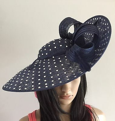 Navy Blue Hatinator Disc Hat Wedding Ascot Formal Occasion Mother Of The Bride