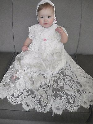 New Handmade silk Christening Baptism Gown Dress 12-18 M Alencon  Lace Pearls