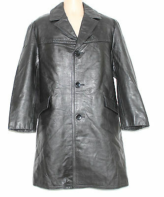 VTG Black Thick 100% Real Leather NIKANTON Knee Length Biker Men's Coat Size M L