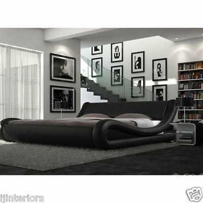 Enzo Italian Modern Small Double King Size Leather Bed + Memory Foam Mattress >