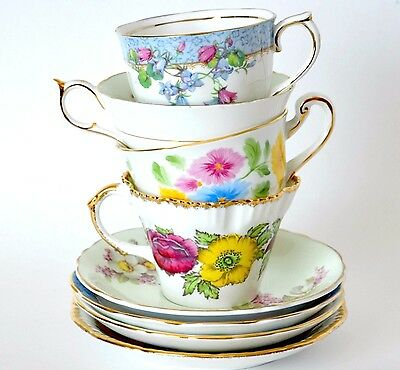 Vintage 4 tea sets tea cup saucer china set Salisbury Paragon Chelsea Crown