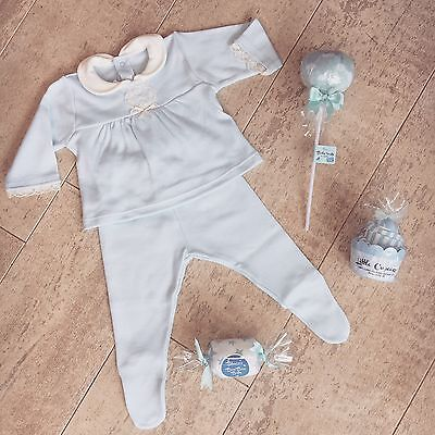 Spanish Boys Girls 2 Piece Blue Soft Top & Leggings Set Newborn NB New Baby
