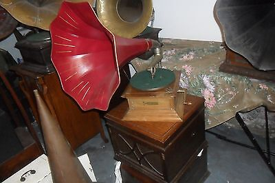 A  good working original restored Zonophone Red Horn  gramophone phonograph