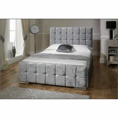 Modern Crushed Velvet Fabric Storage Bed Double King Size Memory Foam Mattress