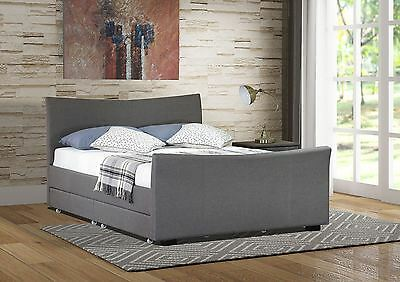 4 Drawers Storage Fabric Bed Frame Double Or King Size Beds + Spring Mattress