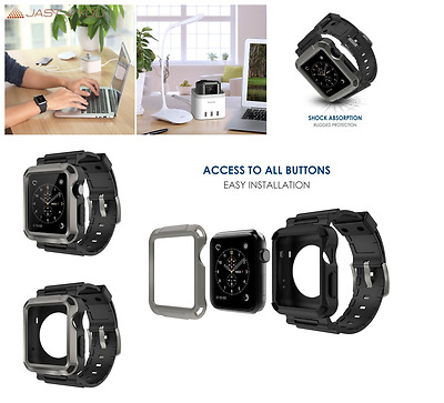 Case Screen Cover Protector For Apple Watch 42mm Rugged Sport iWatch Series 1-2