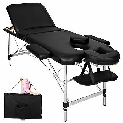 Table Banc Lit de massage pliable transportab cosmetique Aluminium noir + sac