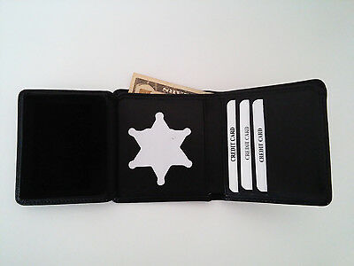 Sheriff's Badge Wallet Universal 6 Point Star Recessed Cut RFID Tri Fold BIW09
