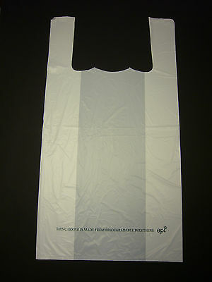 "White 100% Bio Degradable Carrier Bag 11"" x 17"" Pack 500"