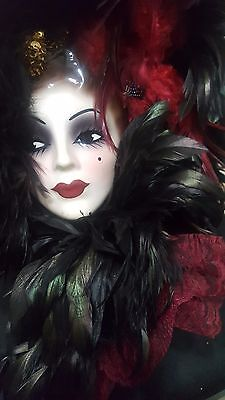 Unique Creations Handcrafted SIGNED PORCELAIN Mask BURGUNDY & BLACK Feathers USA
