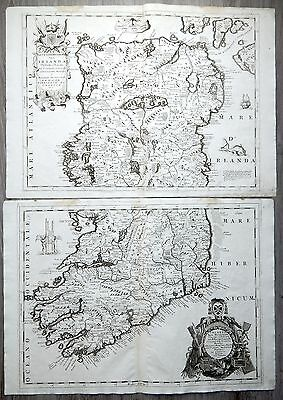 1692 Highly decorative Original CORONELLI Irish map IRELAND two sheets to join