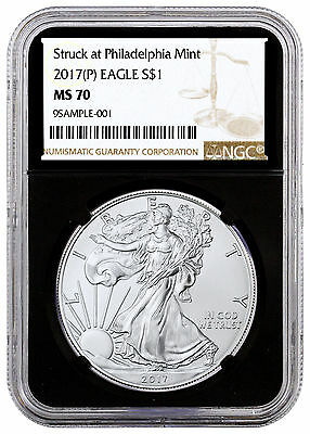 2017-(P) American Silver Eagle Struck Philadelphia Mint NGC MS70 Black SKU46842