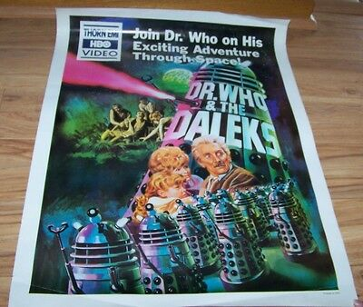 RARE VINTAGE DOCTOR WHO & THE DALEKS MOVIE POSTER - HOME VIDEO HBO 19 x 25