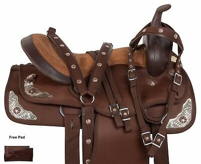 Brown 15 16 17 18 Western Pleasure Trail Synthetic Barrel Horse Saddle Tack Set