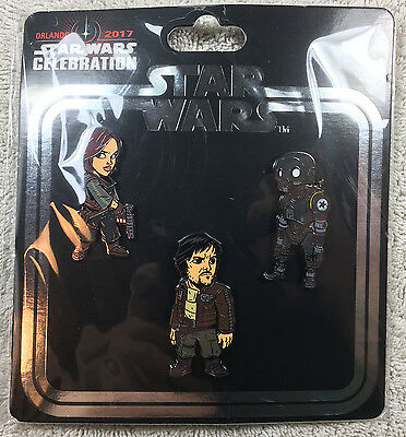 2017 Star Wars Celebration Exclusive Pin Set 3 Pack Rogue One Jyn K2SO Cassian