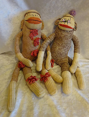 Vintage Handmade Sock Doll Monkey Red Bottom Yarn Buttons 18-20 Inches Lot of 2