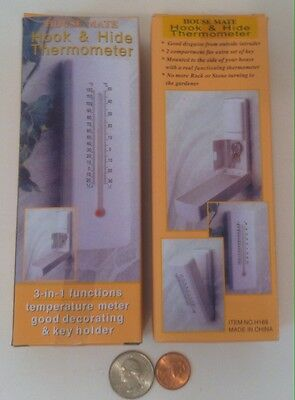 2 Brand New Thermometers with Locking Key Box, Secret Hiding Place for Keys