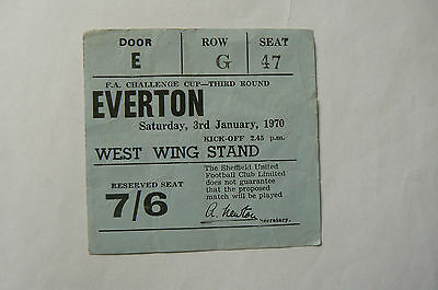 1970 SHEFFIELD UTD V EVERTON FA CUP 3rd ROUND TICKET