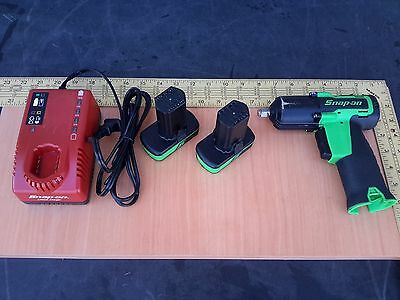 """Green Snap-on Tool 14.4V Cordless 3/8"""" Impact Wrench CT761-G 2 Batteries Charger"""