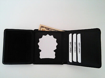 NYPD Detective's Style Badge Wallet RFID Recessed Cut Out Money Tri Fold BIW09
