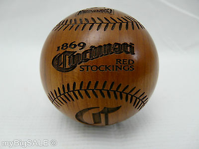 1869 Cincinnati Red Stockings Limited Edition Wood Baseball GridWorks Engraved