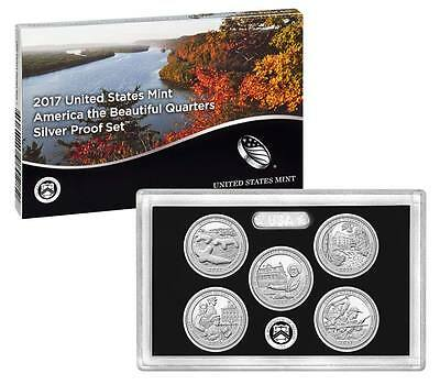 2017 S National Park Quarters Silver Proof Set - w/ Box & COA - Below Mint Issue