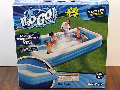 Bestway H2O GO! Deluxe 10ft Long Blue Rectangular Inflatable Family Pool