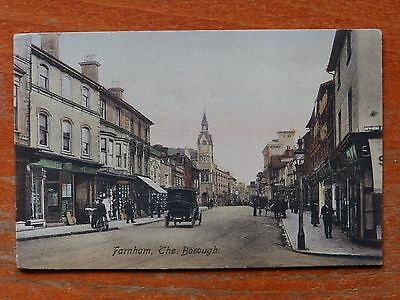 Pre 1918 Frith postcard: Farnham, The Borough, Surrey. Vintage car.