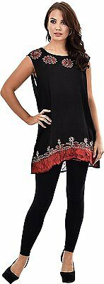 Womens Casual Wear Short Top Floral Printed Black Summer Sleeveless Blouse Dress