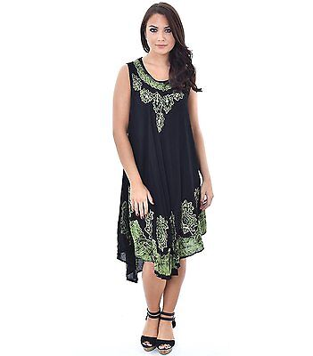 Summer Women New Boho Viscose Evening Party Beach Dress Floral Black Sundress