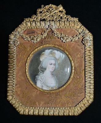 Antique French Hand Painted Portrait In Bronze and Fabric Frame